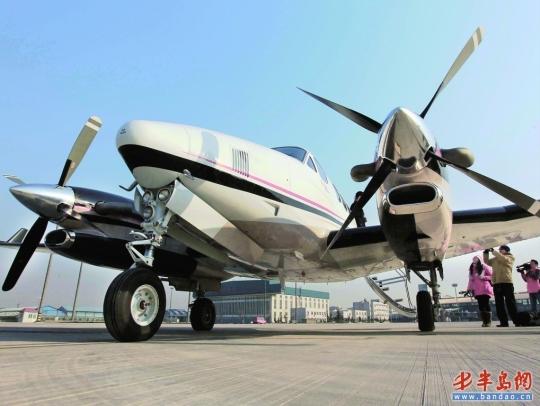 世界最先进公务机亮相青岛 在山东巡航展示